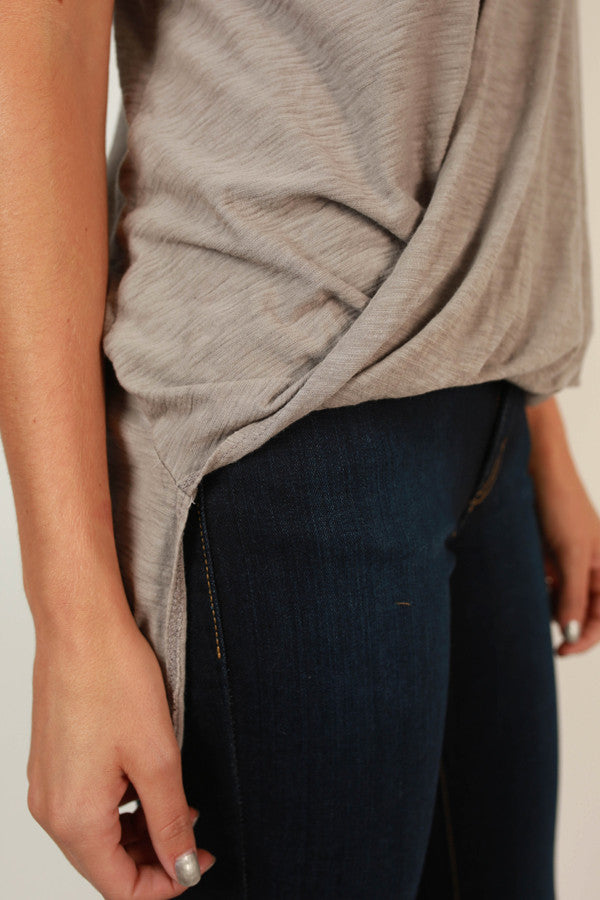 Front Row Fashion Tank in Taupe