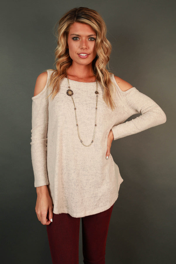 Sweet on You Open Shoulder Sweater in Birch
