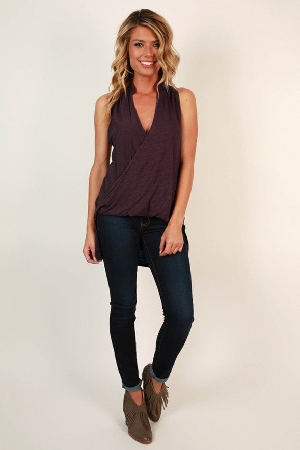 Front Row Fashion Tank in Windsor Wine