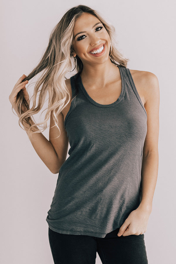 Hustle And Flow Tank In Charcoal