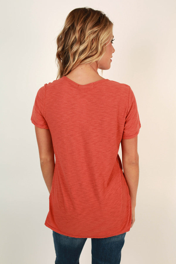 Out and About V-neck Tee in Pumpkin