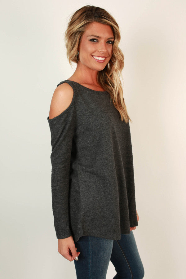 Sweet on You Open Shoulder Sweater in Charcoal
