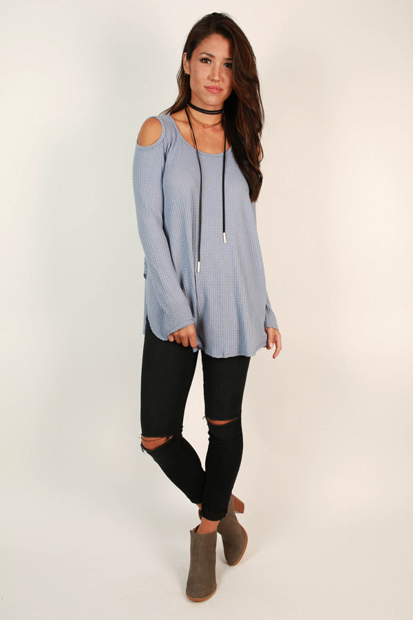 Coffee Date Cold Shoulder Top in Airy Blue