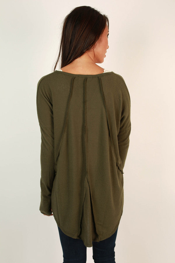 Cute and Cozy Top in Army Green