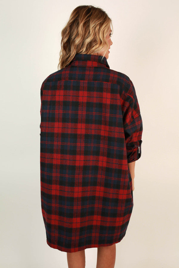 Fireside Cuddles Flannel Tunic In Red