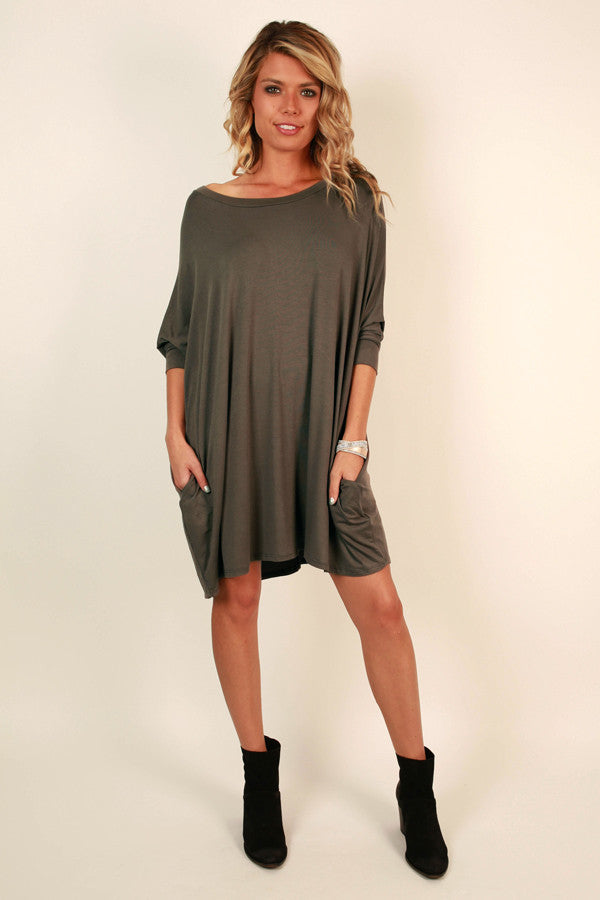 Mind Made Up Shift Dress in Smoky Black