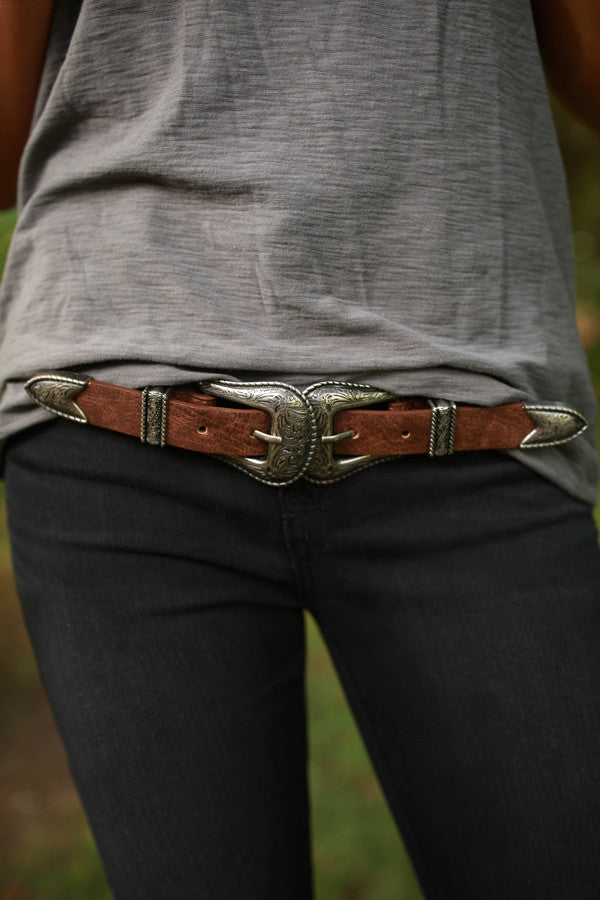Buckle Up Buttercup Belt in Brown