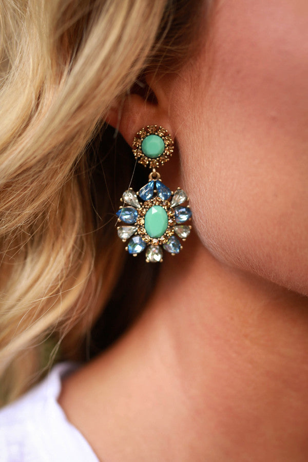 Free Fallin' Floral Earrings in Ocean Wave