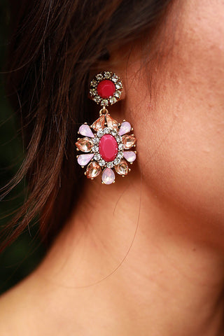 Free Fallin' Floral Earrings in Sangria