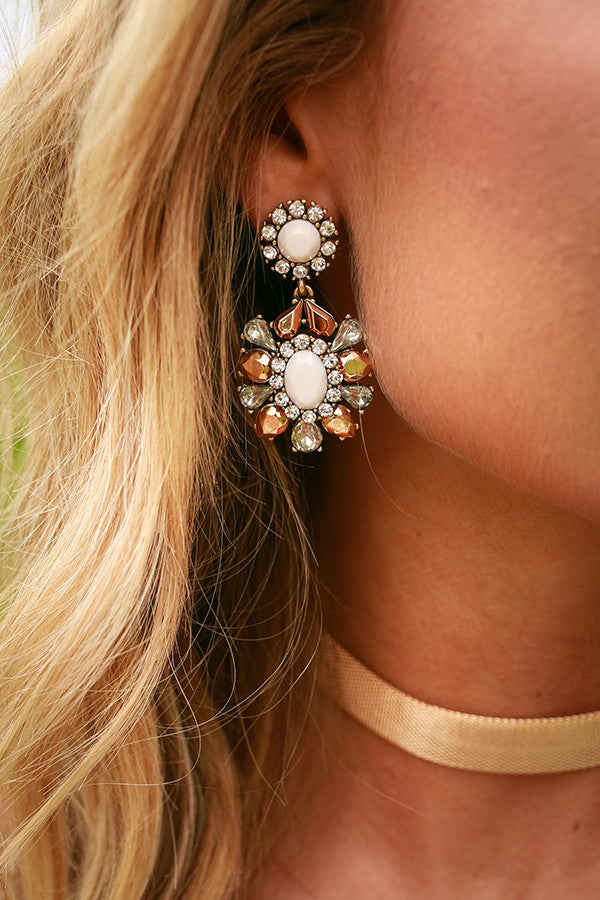 Free Fallin' Floral Earrings in Ivory