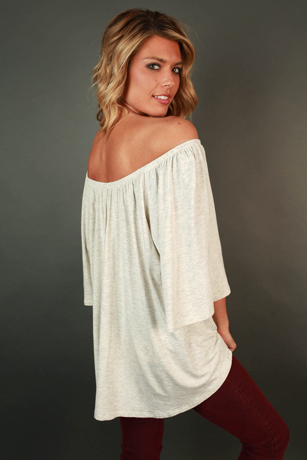 Born Beautiful Off Shoulder Top in Stone