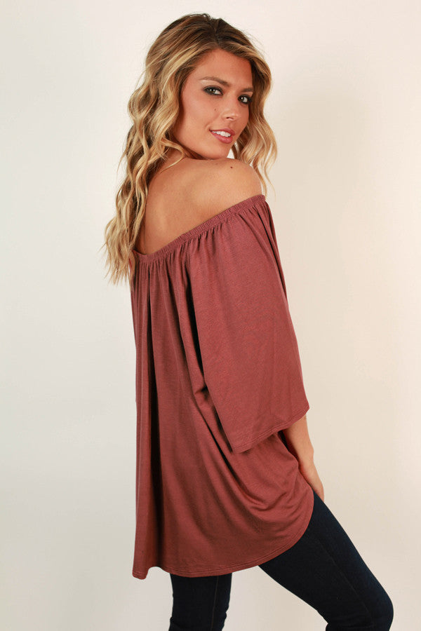Born Beautiful Off Shoulder Top in Rustic Rose