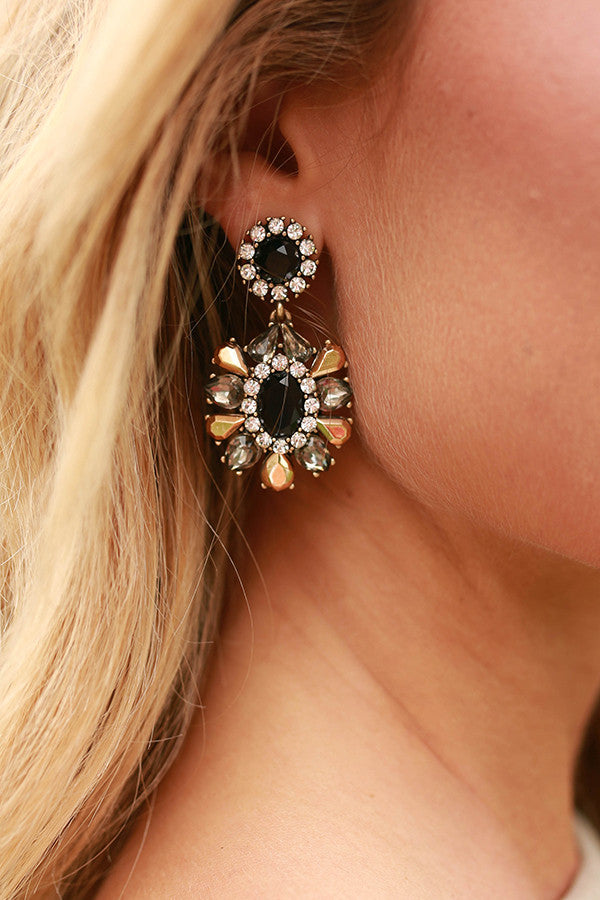 Free Fallin' Floral Earrings in Black