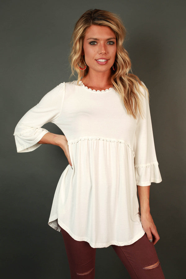 Burst Of Energy Babydoll Top in White