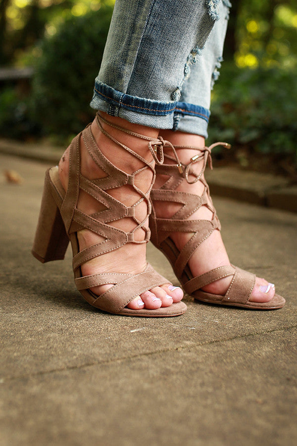Positive Lace Up Heel in Taupe