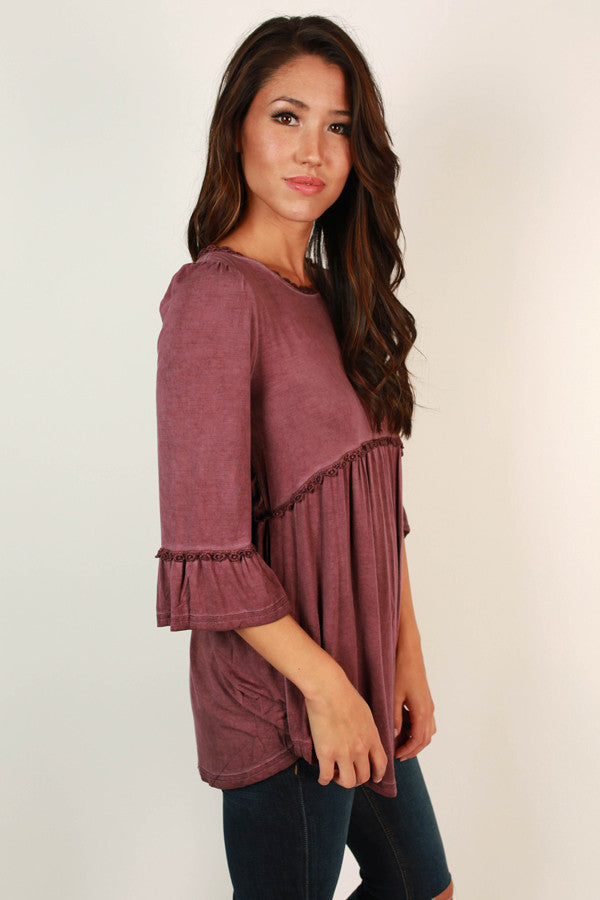 Burst Of Energy Babydoll Top in Vineyard Grape
