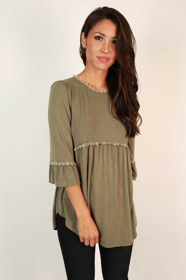 Burst Of Energy Babydoll Top in Sage