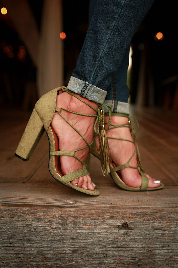 Gelato Lace Up Heel in Sage
