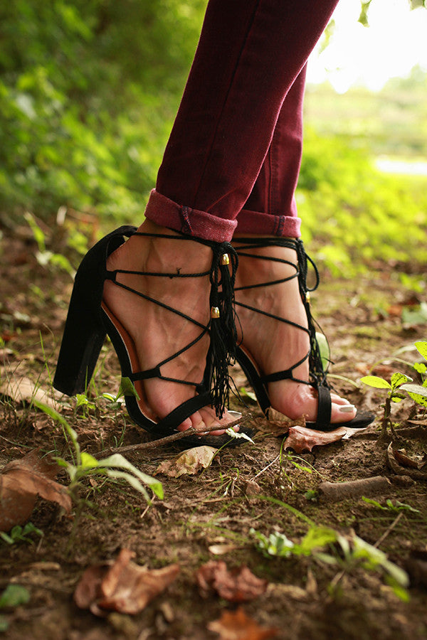 Gelato Lace Up Heel in Black