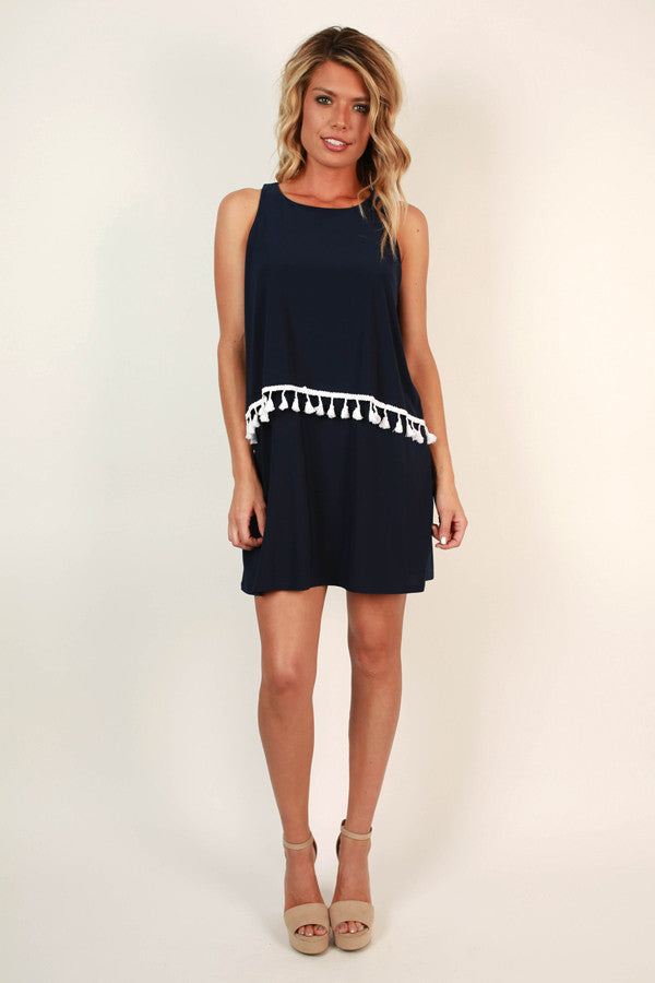 For The Frill Of It Dress in Navy