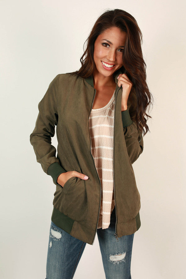 Taking Flight Bomber Jacket in Army Green