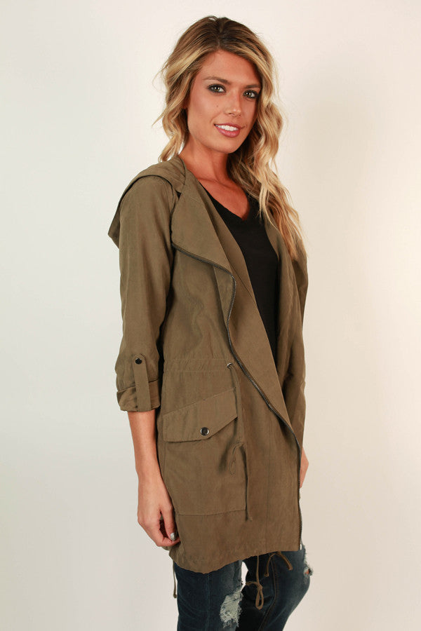 Cozy in Manhattan Lightweight Jacket in Army Green