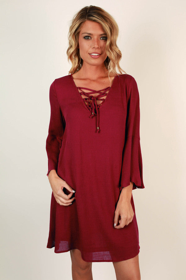 Sweet Southern Sangria Shift Dress in Wine