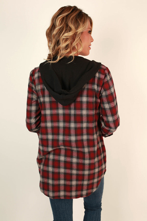 Practicing Cozy Plaid Hoodie in Black