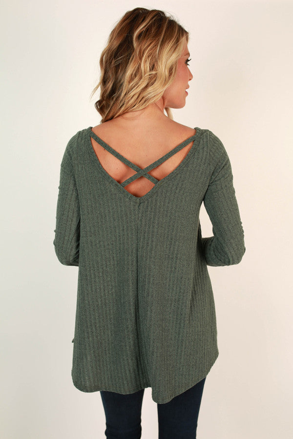 Time Romance Cut Out Top in Olive