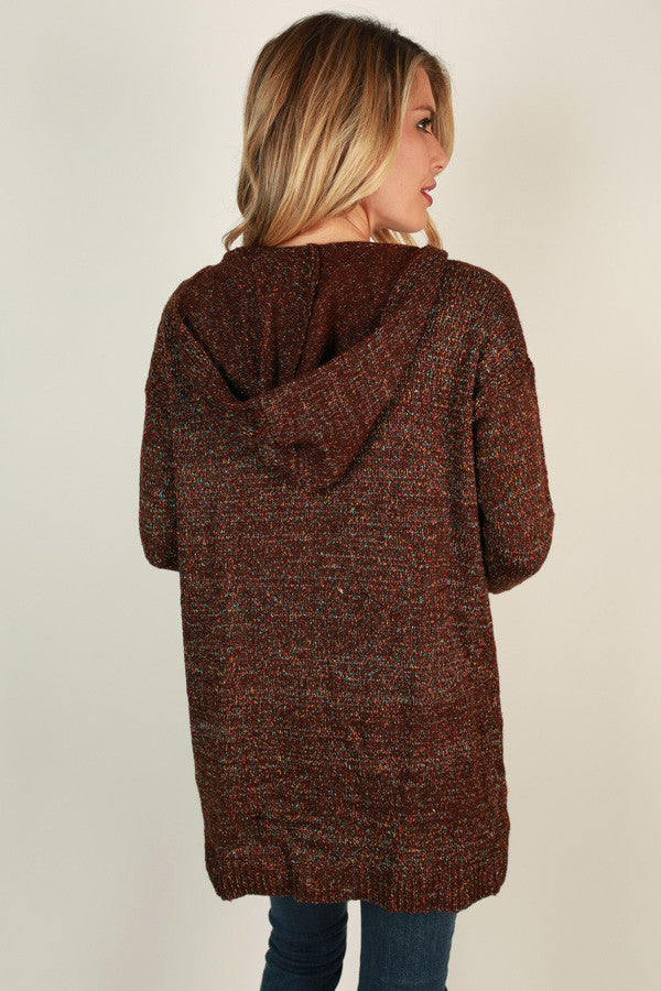 Coffee Shop Cuddles Cardigan in Wine Multi