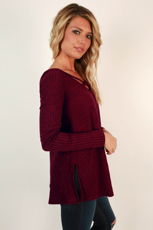 Time Romance Cut Out Top in Wine