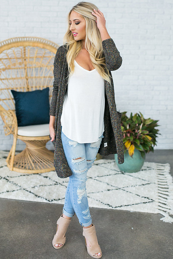 Coffee Shop Cuddles Cardigan in Charcoal Multi