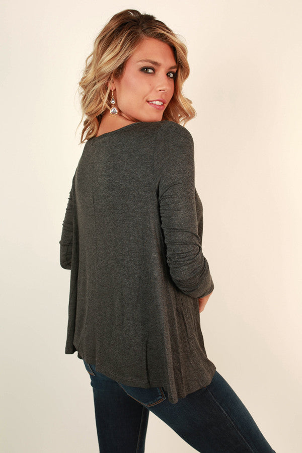 Time To Shine Cut Out Top in Charcoal