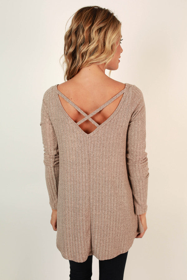 Time Romance Cut Out Top in Warm Taupe