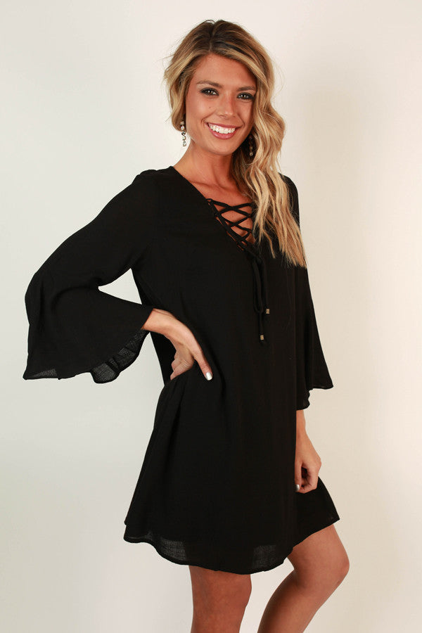 Sweet Southern Sangria Shift Dress in Black