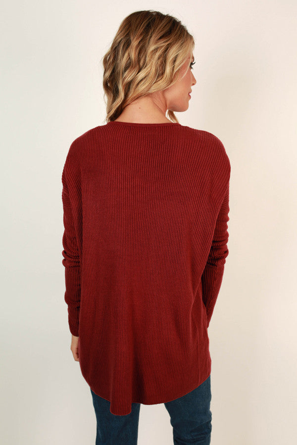 Perfect Timing Tunic Sweater in Scarlet