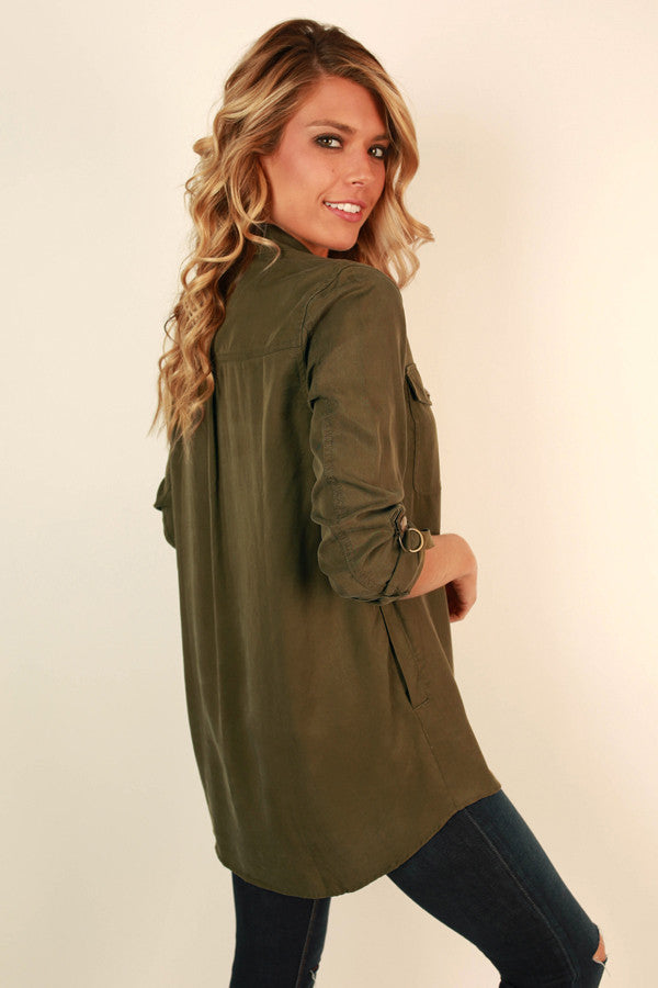 Latte Meet Up Button Up Tunic