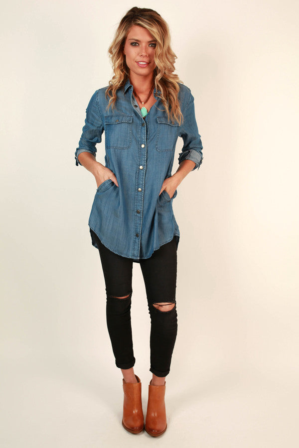 Weekend Getaway Chambray Button Up Tunic