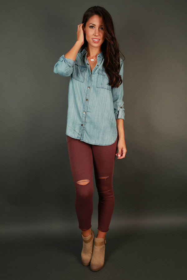 Fashion Week Chic Chambray Button Up Top