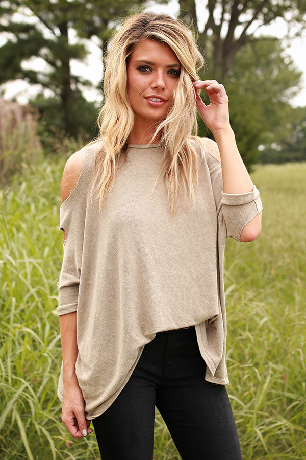 Saturday Cozy Cold Shoulder Cut Out Top
