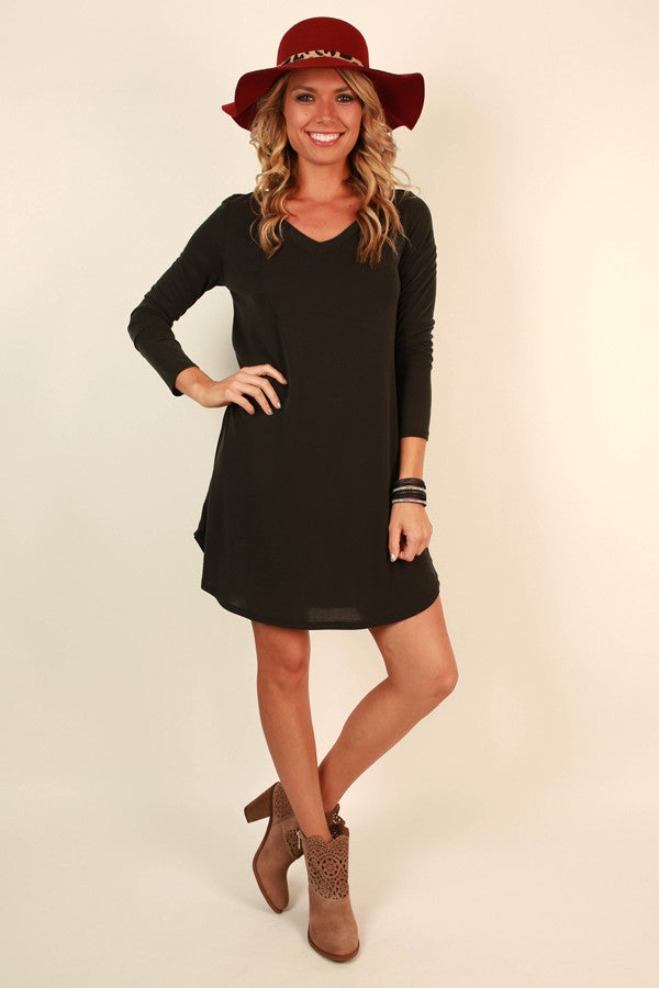Got You On My Mind Shift Dress in Black