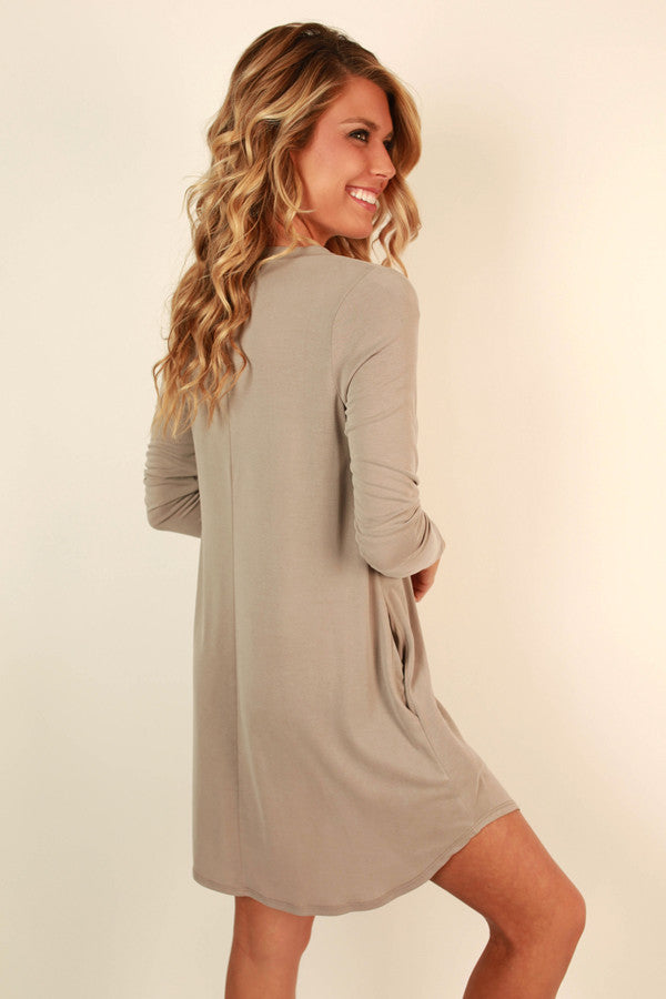 Got You On My Mind Shift Dress  in Taupe