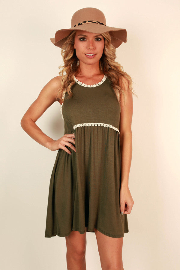 Fashion Queen Shift Dress in Army Green