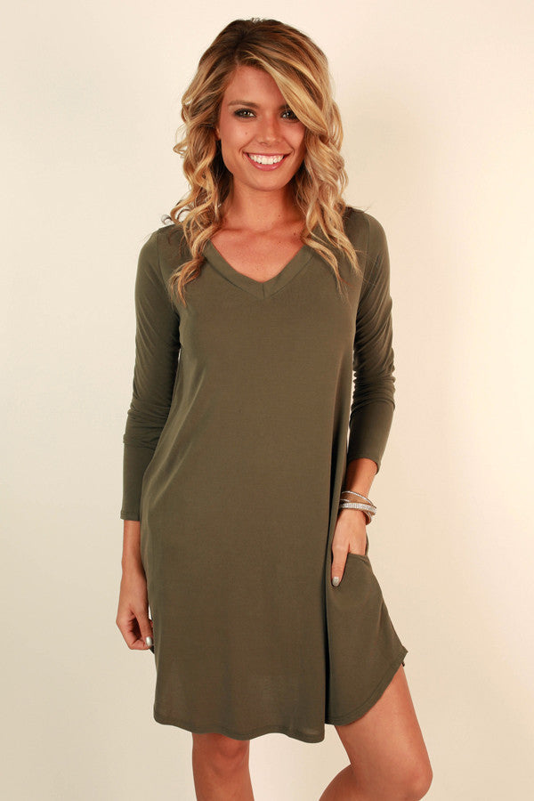 Got You On My Mind Shift Dress in Army Green