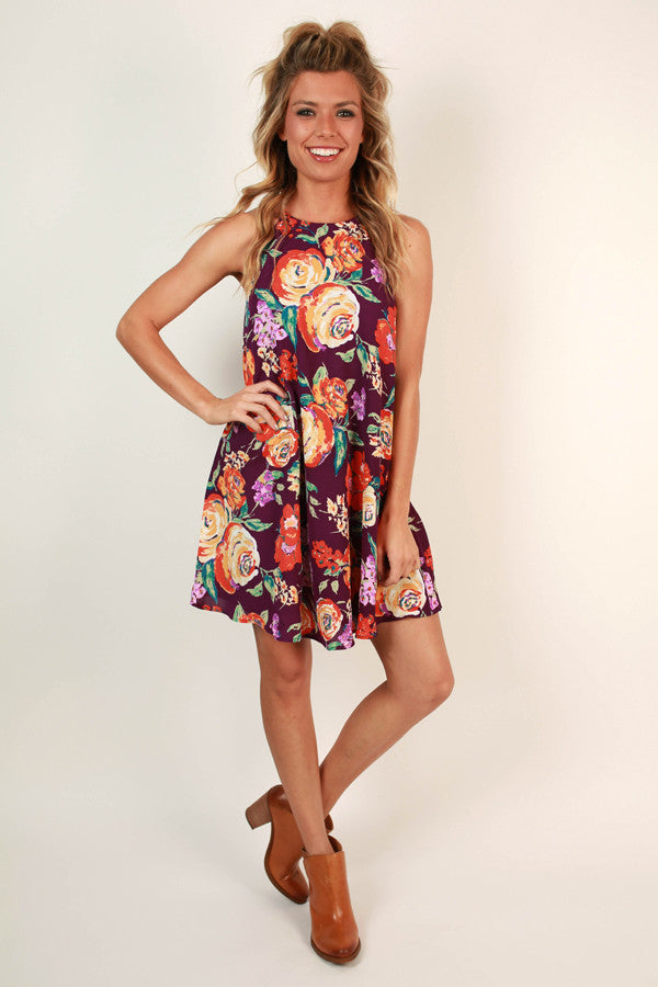 Floral Fantasy Shift Dress In Royal Plum