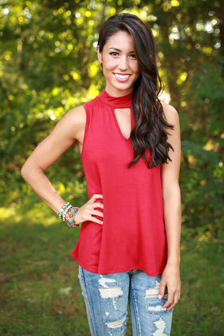 Hometown Sweetheart Shift Tank in Crimson