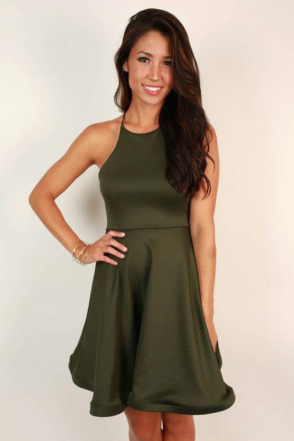 He Calls Me Darling Fit and Flare Dress in Hunter Green