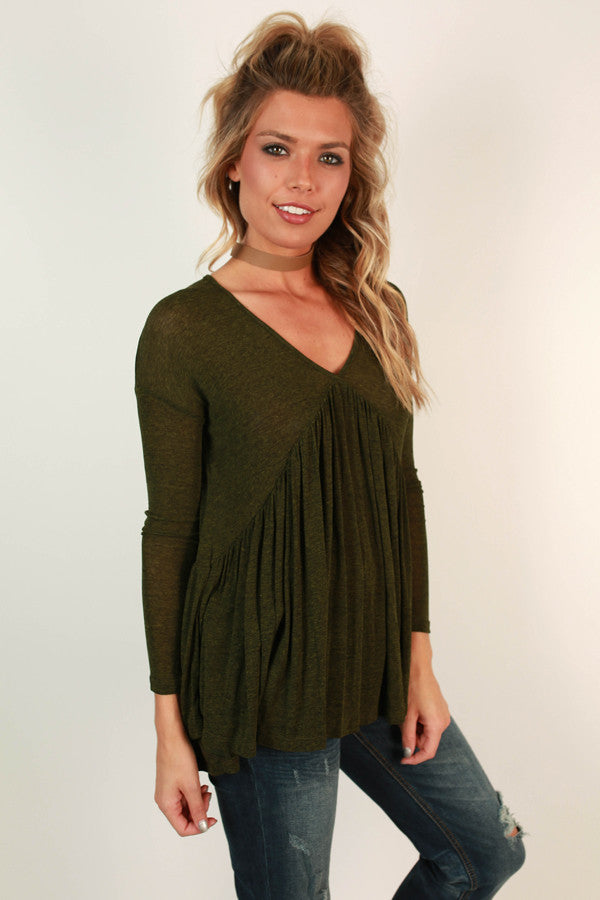 Call Me Babydoll Top in Army Green