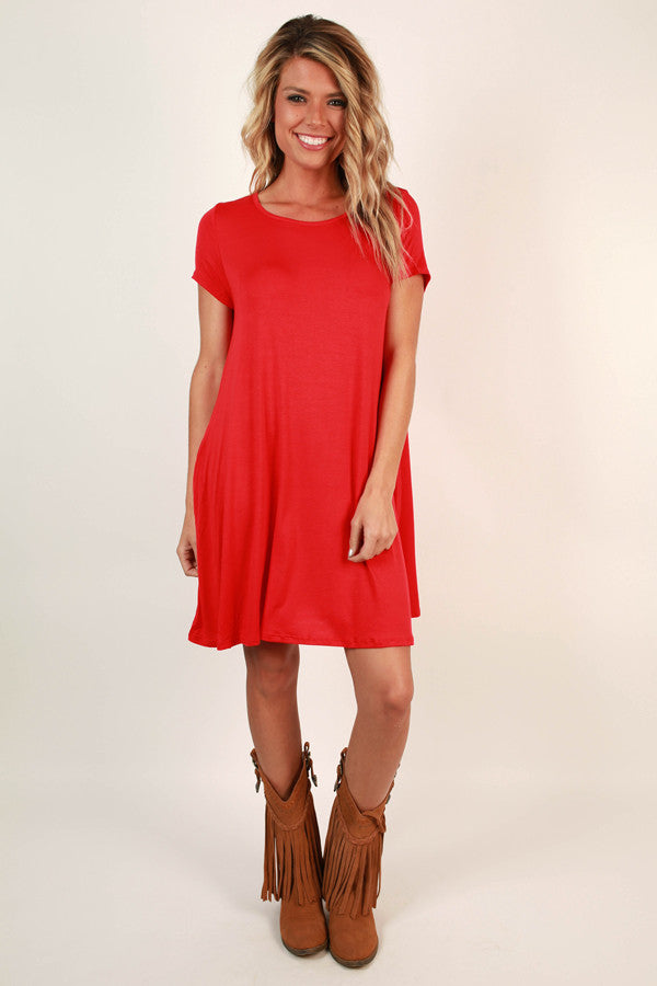 Saturday Night Lights Shift Dress in Red