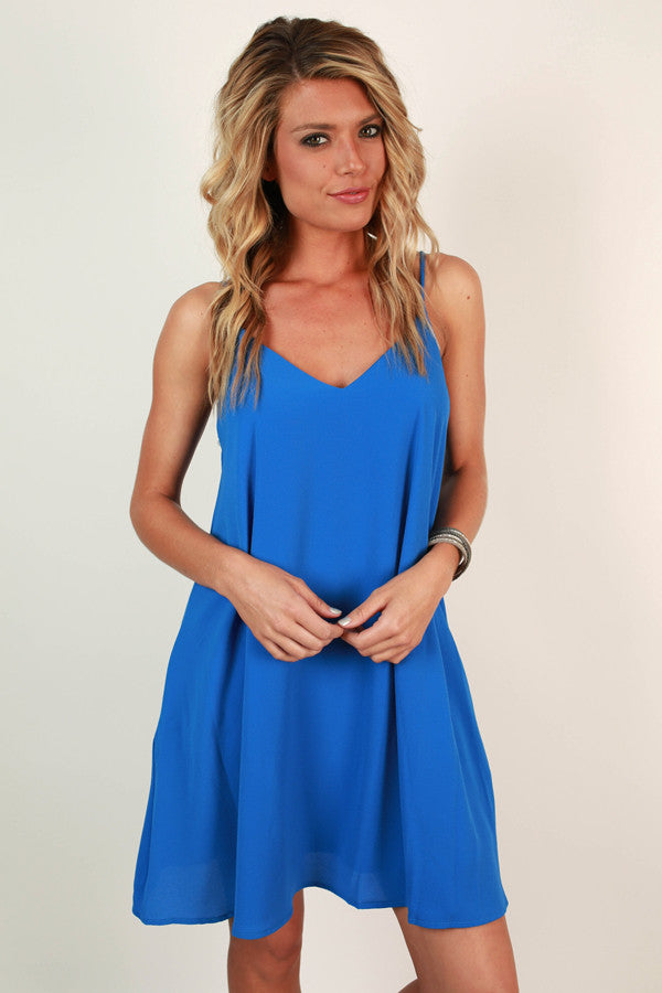 Stadium Chic Shift Dress in Blue